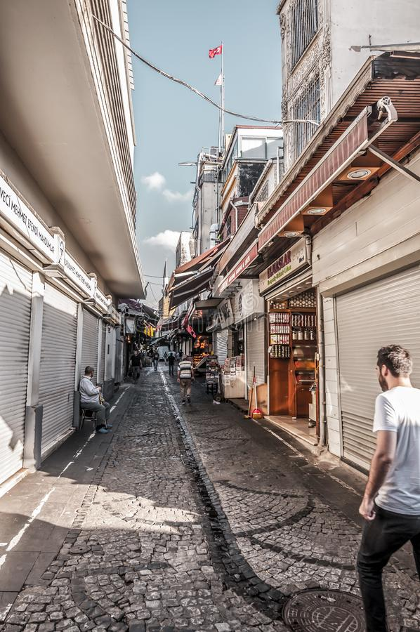 Eminonu, Istanbul. Istanbul, Turkey - June 27, 2019: Street view from Eminonu, Istanbul`s most touistic and crowded area with historical landmarks, cafes stock image