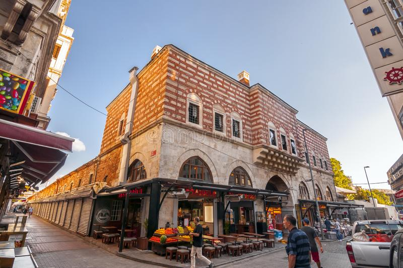 Eminonu, Istanbul. Istanbul, Turkey - June 27, 2019: Street view from Eminonu, Istanbul`s most touistic and crowded area with historical landmarks, cafes stock images