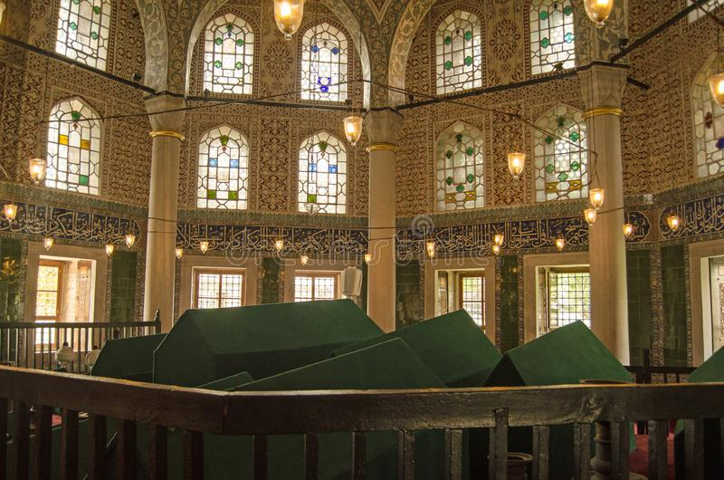 Tomb of Sultan Mehmed III, Istanbul. ISTANBUL, TURKEY - JUNE 6, 2016: Tomb of Sultan Mehmed III and his family.  The Ottoman Sultan was notorious for clearing stock images