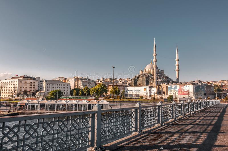 Eminonu, Istanbul. Istanbul, Turkey - June 27, 2019: Yeni Cami or The New Mosque in Eminonu, Istanbul`s most touistic and crowded area with historical landmarks royalty free stock images