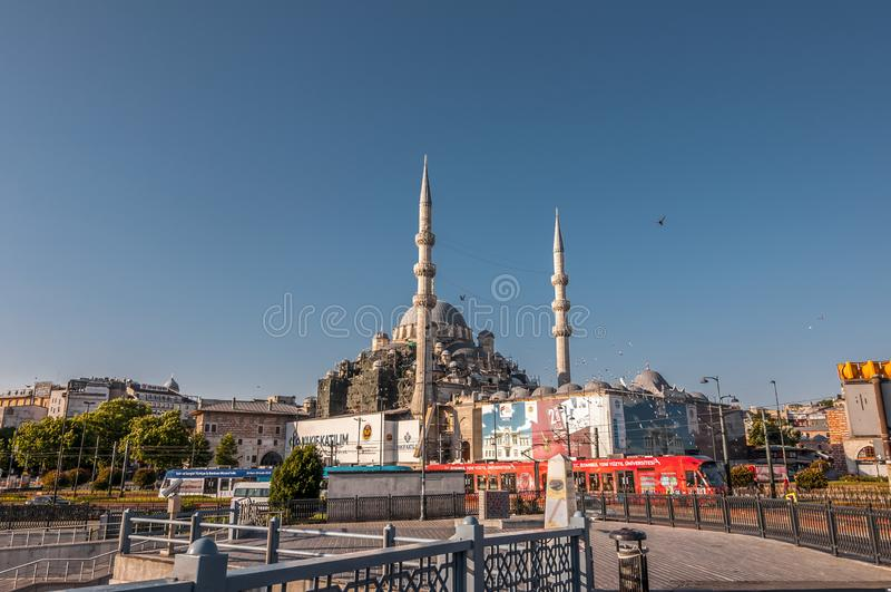 Eminonu, Istanbul. Istanbul, Turkey - June 27, 2019: Yeni Cami or The New Mosque in Eminonu, Istanbul`s most touistic and crowded area with historical landmarks stock photo