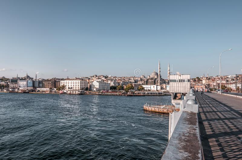 Eminonu, Istanbul. Istanbul, Turkey - June 27, 2019: Yeni Cami or The New Mosque in Eminonu, Istanbul`s most touistic and crowded area with historical landmarks royalty free stock image