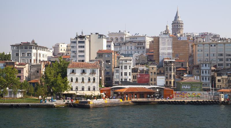 Istanbul, Turkey. Landscape with Galata tower. Istanbul, Turkey - July 1, 2016: Karakoy. Street view of commercial quarter in the Beyoglu district of Istanbul royalty free stock images