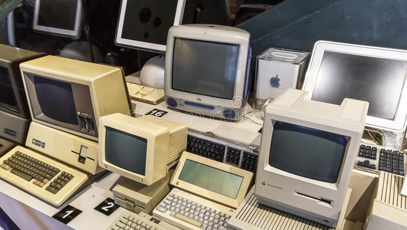 Istanbul, Turkey, 23 March 2019: Apple Macintosh Classic Personal computer Old original computer with keyboard on. Display in a Rahmi Koc museum, detailing the royalty free stock photography