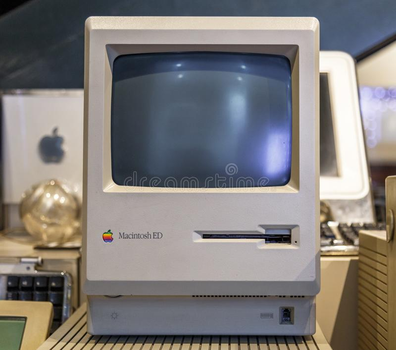 Istanbul, Turkey, 23 March 2019: Apple Macintosh Classic Personal computer Old original computer with keyboard on. Display in a Rahmi Koc museum, detailing the royalty free stock image