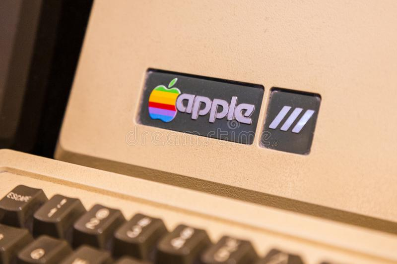 Istanbul, Turkey, March 2019: Closeup old rainbow Apple logo on old Macintosh computer. Rahmi Koc museum.  stock image