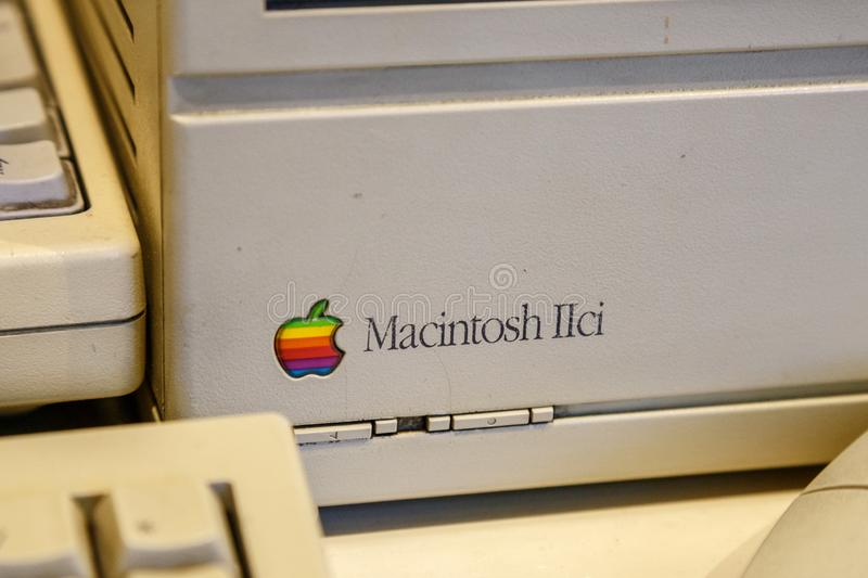 Istanbul, Turkey, March 2019: Closeup old rainbow Apple logo on old Macintosh computer. Rahmi Koc museum.  royalty free stock image