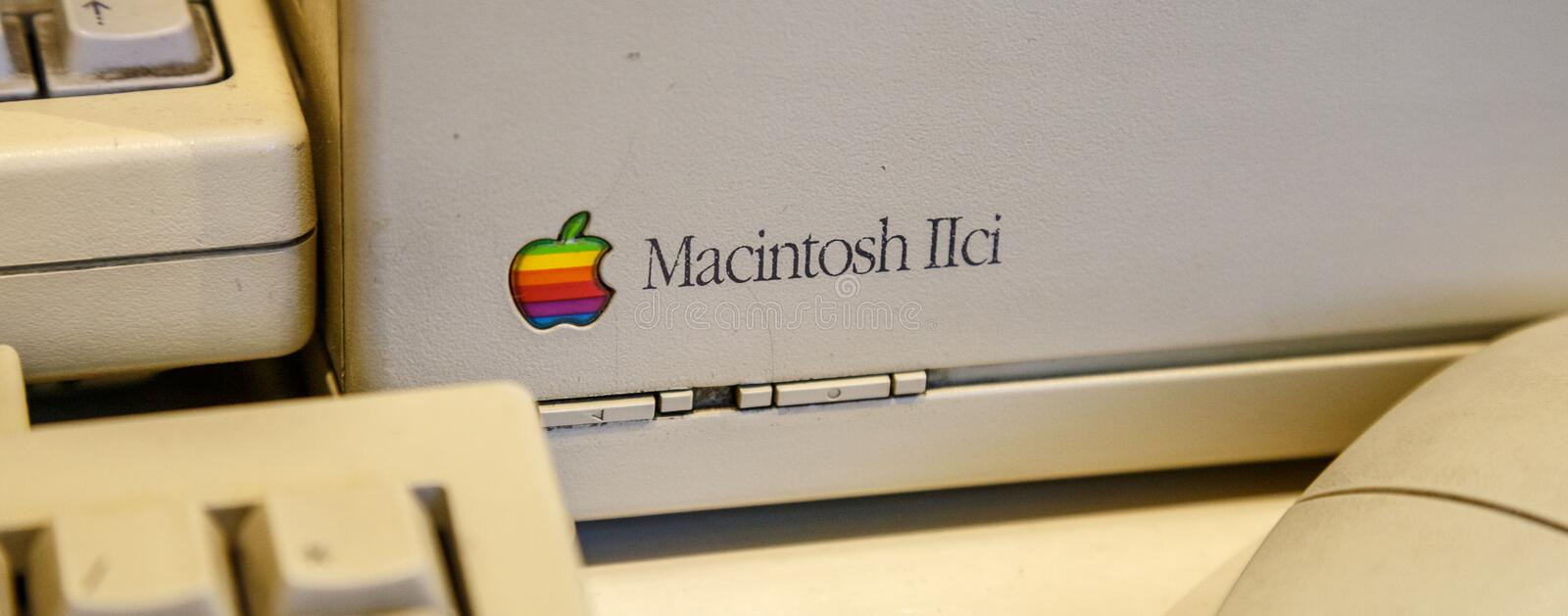 Istanbul, Turkey, March 2019: Closeup old rainbow Apple logo on old Macintosh computer. Rahmi Koc museum.  stock photography