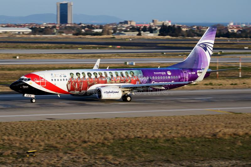 Egyptair special livery Boeing 737-800 SU-GEN passenger plane departure at Istanbul Ataturk stock photos