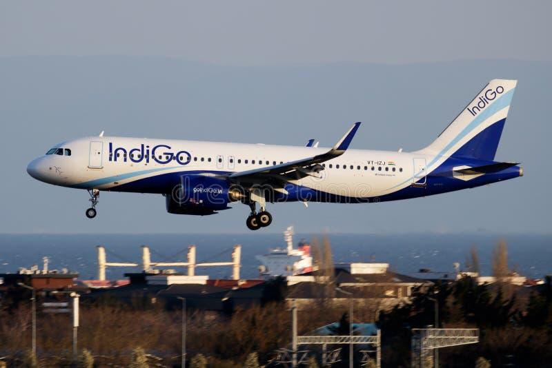 IndiGo Airbus A320 NEO VT-IZJ passenger plane landing at Istanbul Ataturk Airport royalty free stock images