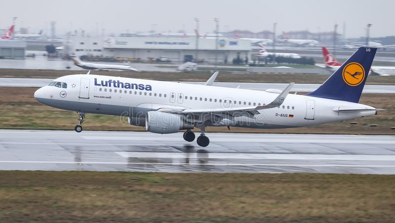 Airplane Landing to Airport. ISTANBUL, TURKEY - MARCH 04, 2018: Lufthansa Airbus A320-214 (CN 6202) landing to Istanbul Ataturk Airport. Lufthansa has 302 fleet royalty free stock photography