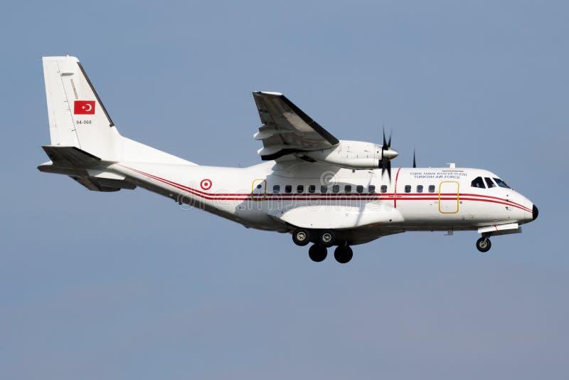 Turkish Air Force CASA CN-235 94-068 military transport plane plane landing at Istanbul stock photo