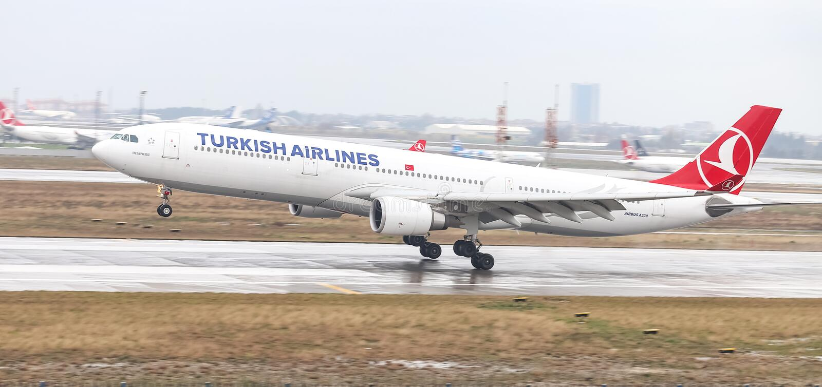 Airplane Landing to Airport. ISTANBUL, TURKEY - MARCH 04, 2018: Turkish Airlines Airbus A330-302 (CN 1499) landing to Istanbul Ataturk Airport. THY is the flag royalty free stock photos