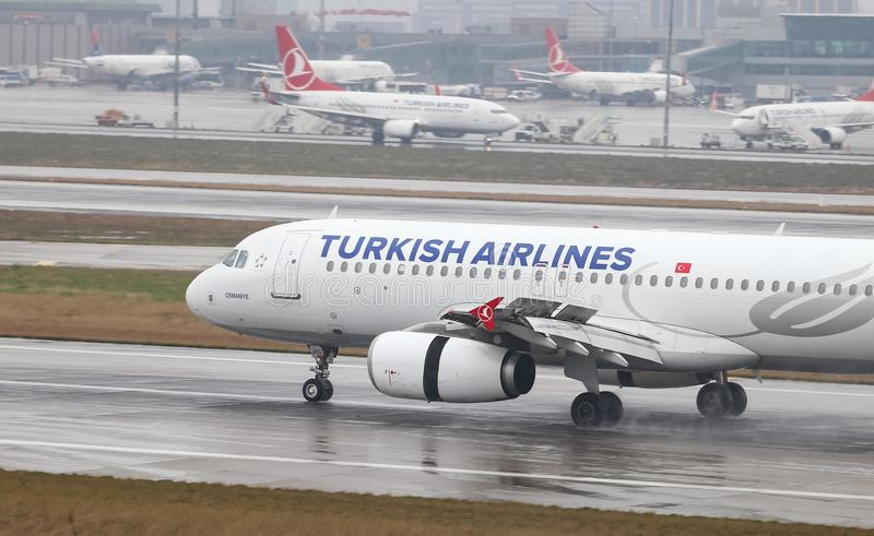 Airplane Landing to Airport. ISTANBUL, TURKEY - MARCH 04, 2018: Turkish Airlines Airbus A320-232 (CN 3010) landing to Istanbul Ataturk Airport. THY is the flag royalty free stock image