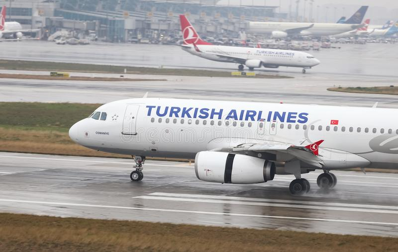 Airplane Landing to Airport. ISTANBUL, TURKEY - MARCH 04, 2018: Turkish Airlines Airbus A320-232 (CN 3010) landing to Istanbul Ataturk Airport. THY is the flag stock images