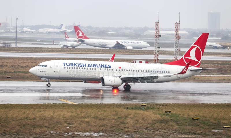Airplane Landing to Airport. ISTANBUL, TURKEY - MARCH 04, 2018: Turkish Airlines Boeing 737-8F2 (CN 40987) landing to Istanbul Ataturk Airport. THY is the flag royalty free stock photos
