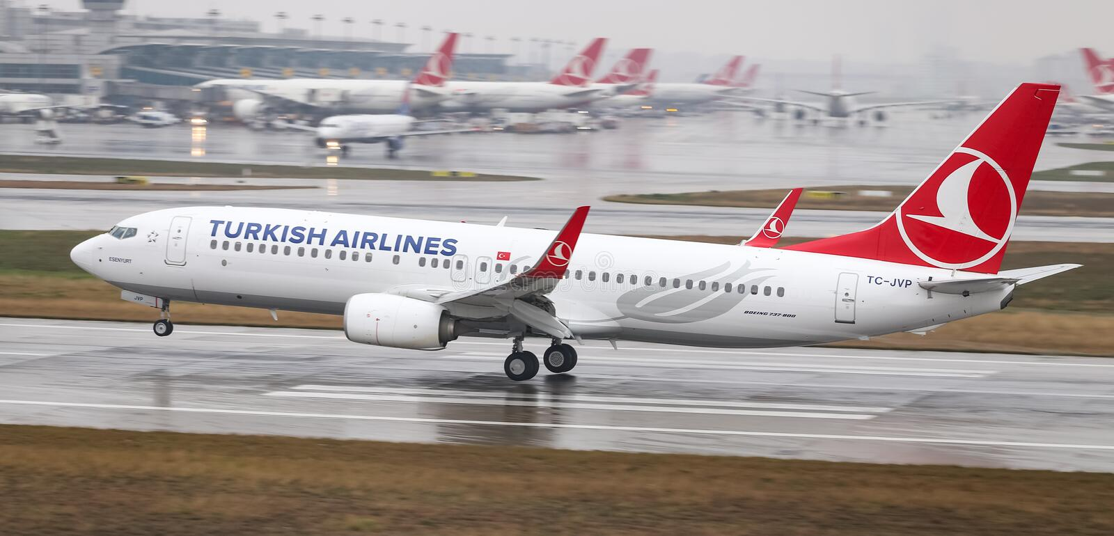 Airplane Landing to Airport. ISTANBUL, TURKEY - MARCH 04, 2018: Turkish Airlines Boeing 737-8F2 (CN 60019) landing to Istanbul Ataturk Airport. THY is the flag stock images