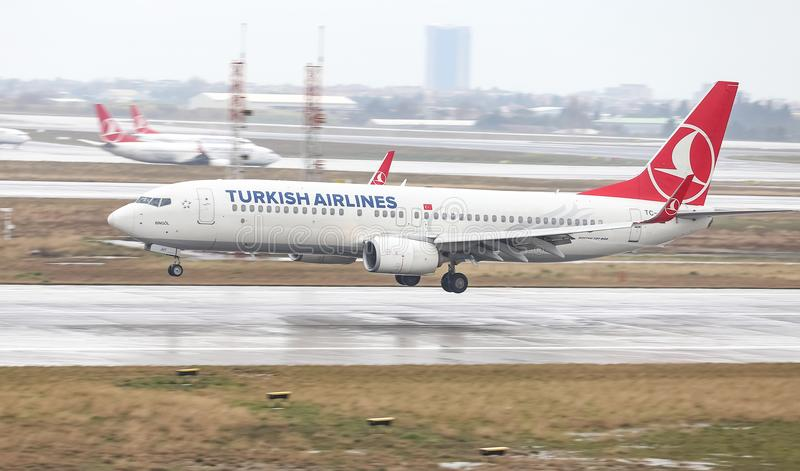 Airplane Landing to Airport. ISTANBUL, TURKEY - MARCH 04, 2018: Turkish Airlines Boeing 737-8F2 (CN 42001) landing to Istanbul Ataturk Airport. THY is the flag stock photos
