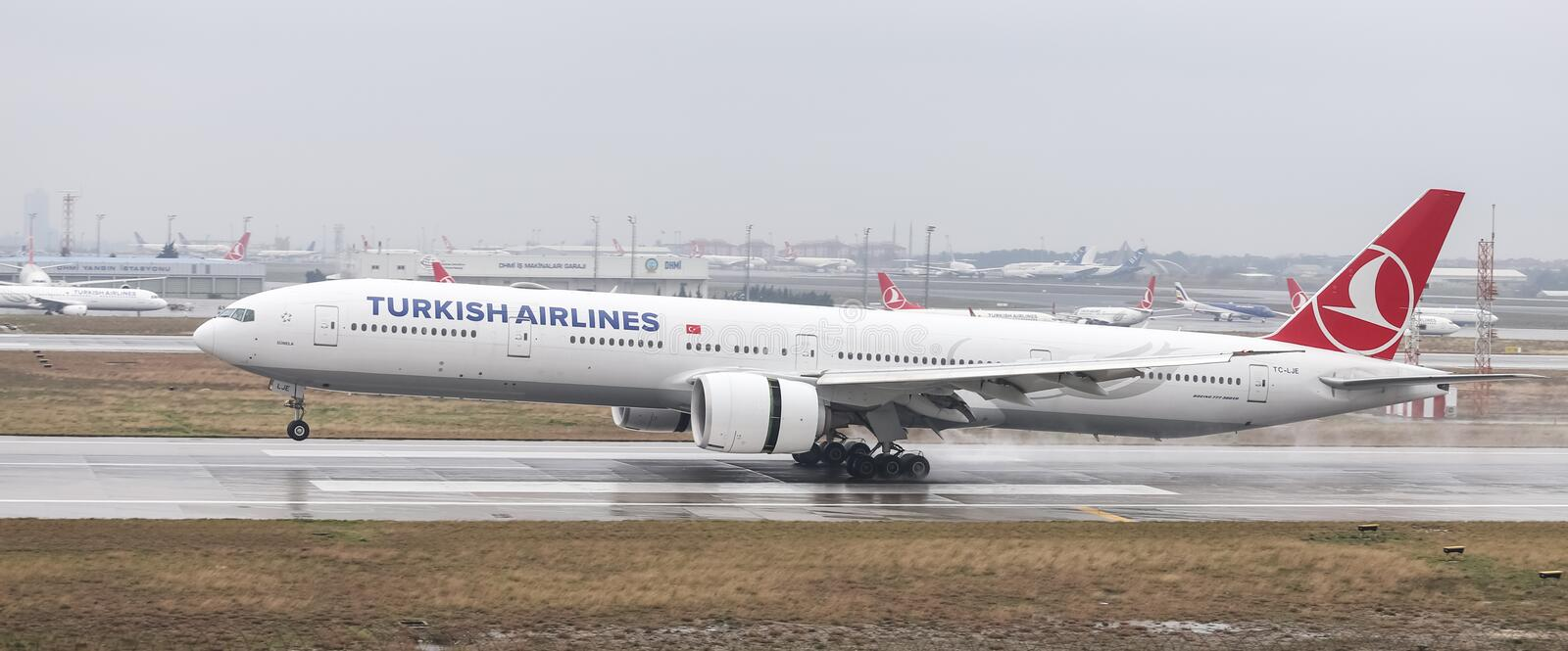 Airplane Landing to Airport. ISTANBUL, TURKEY - MARCH 04, 2018: Turkish Airlines Boeing 777-3F2ER (CN 44126) landing to Istanbul Ataturk Airport. THY is the flag royalty free stock photos
