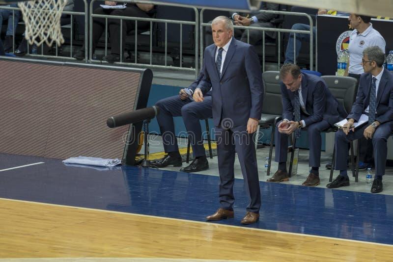 Istanbul / Turkey - March 20, 2018: Zeljko Obradovic, Serbian professional basketball head coach for Fenerbahce. royalty free stock images