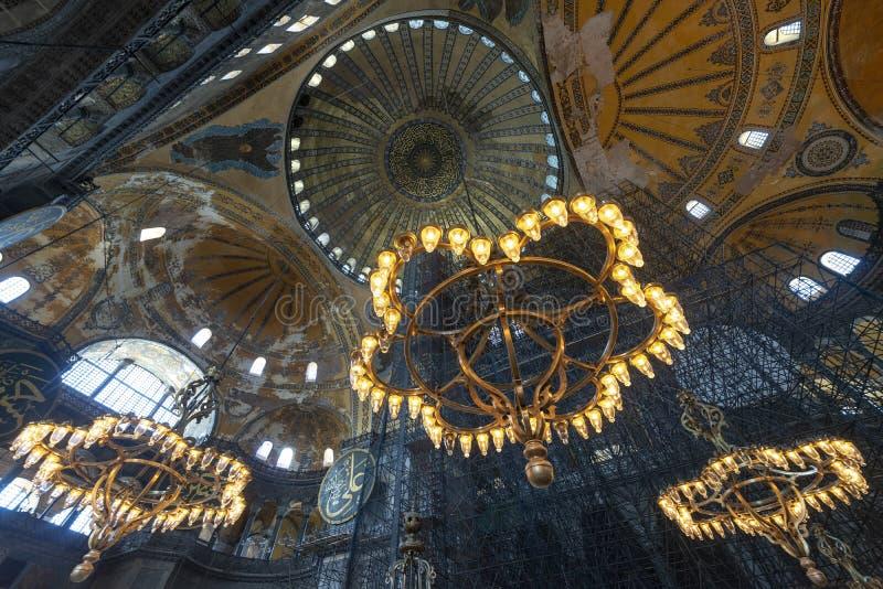 Chandeliers Inside Hagia Sophia, Istanbul, Turkey stock images