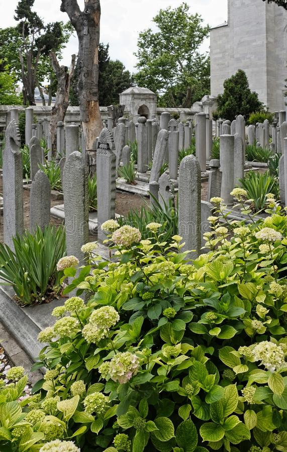 Graveyard in the grounds of the Suleymaniye Mosque in Istanbul stock photos
