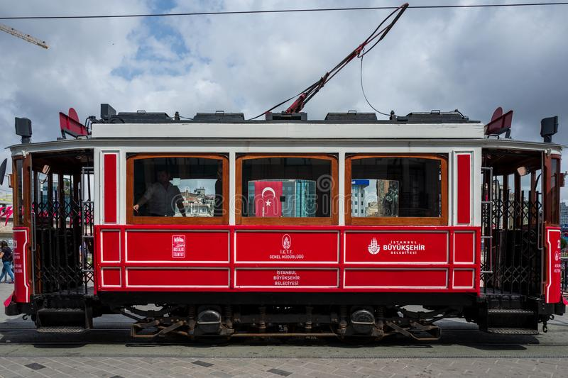 Istanbul, Turkey - May 20 2018: A vintage train in Istanbul Taksim area. royalty free stock photo