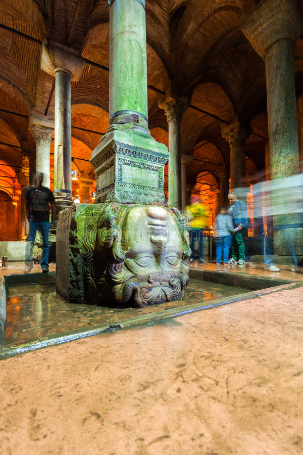 ISTANBUL, TURKEY. Medusa sculpture in the Basilica Cistern. royalty free stock image