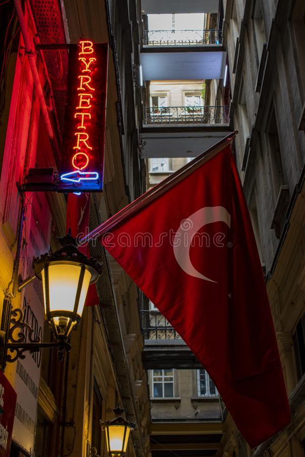 Barber, barber shop, sign, vintage, retro style, Istanbul, Turkey, Middle East, Cicek Pasaji, the Flower Passage, turkish flag. Istanbul, Turkey, Middle East royalty free stock photos