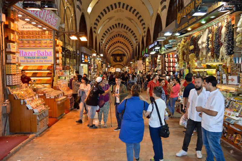 Istanbul Turkey misir carsisi and people. In the Misir Carsisi built in the 17th century, locals and tourists from various countries of the world are shopping royalty free stock image