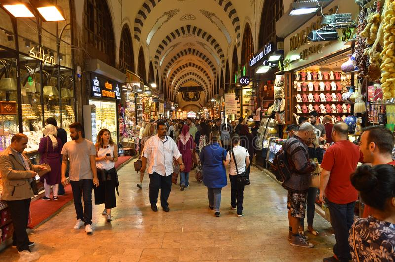 Istanbul Turkey misir carsisi and people. In the Misir Carsisi built in the 17th century, locals and tourists from various countries of the world are shopping royalty free stock images