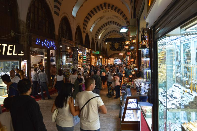Istanbul Turkey misir carsisi and people. In the Misir Carsisi built in the 17th century, locals and tourists from various countries of the world are shopping royalty free stock photo