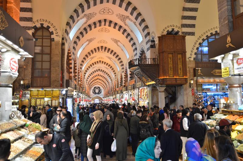 Istanbul Turkey misir carsisi and people, carsi bazar. In the Misir Carsisi built in the 17th century, locals and tourists from various countries of the world stock image