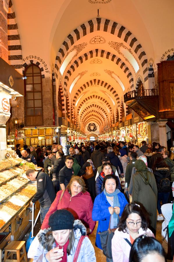 Istanbul Turkey misir carsisi and people, carsi bazar. In the Misir Carsisi built in the 17th century, locals and tourists from various countries of the world royalty free stock images