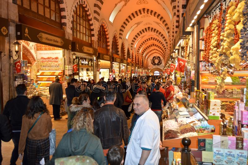 Istanbul Turkey misir carsisi and people. History, empire. In the Misir Carsisi built in the 17th century, locals and tourists from various countries of the stock photo