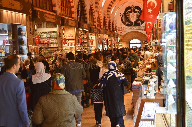 Istanbul Turkey misir carsisi and people. History, empire. In the Misir Carsisi built in the 17th century, locals and tourists from various countries of the royalty free stock photo