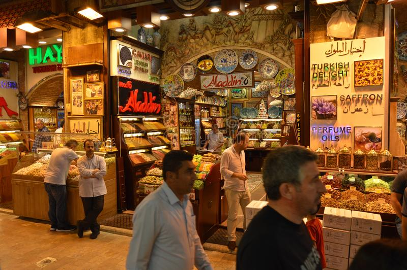 Istanbul Turkey misir carsisi and people. In the Misir Carsisi built in the 17th century, locals and tourists from various countries of the world are shopping stock photography