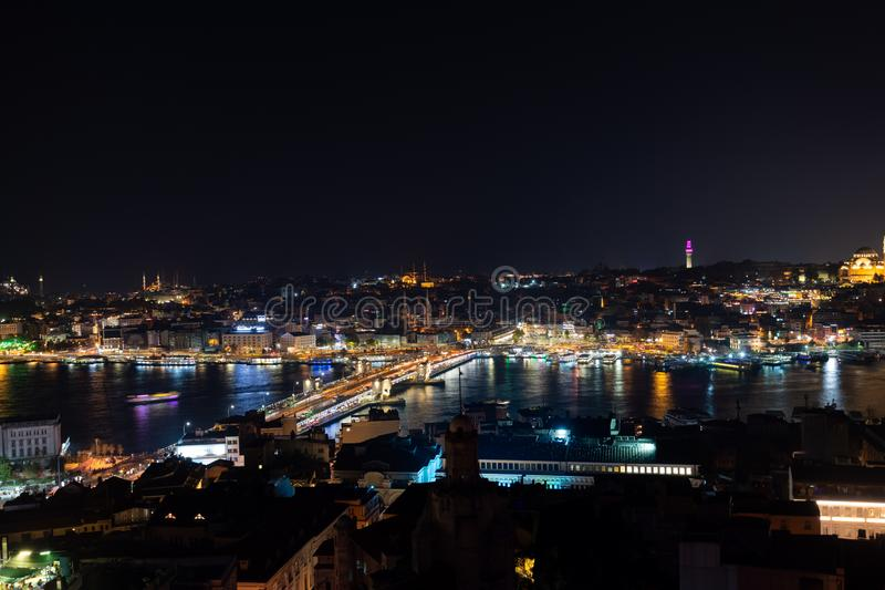 Istanbul, Turkey at night. Illuminated skyline of Istanbul, Turkey at night from Galata Tower over Golden Horn stock images