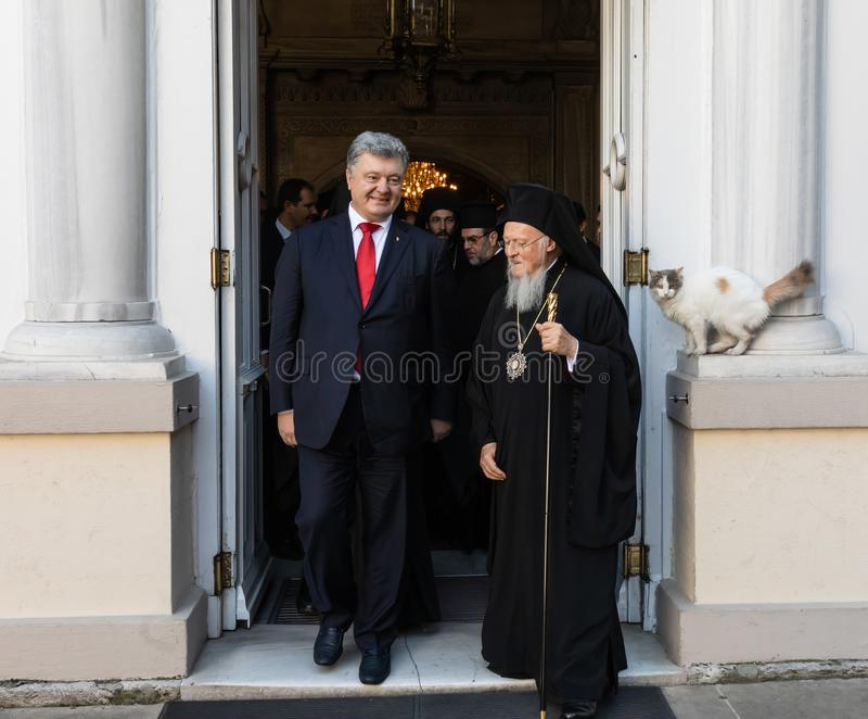 Istanbul, Turkey - Nov 03, 2018: Ecumenical Patriarchate and His All-Holiness Ecumenical Patriarch Bartholomew during a meeting. With President of Ukraine Petro royalty free stock photos