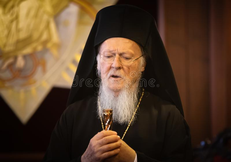His All-Holiness Ecumenical Patriarch Bartholomew. Istanbul, Turkey - Nov 03, 2018: Ecumenical Patriarchate and His All-Holiness Ecumenical Patriarch Bartholomew stock photos