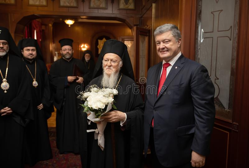 Istanbul, Turkey - Nov 03, 2018: Ecumenical Patriarchate and His All-Holiness Ecumenical Patriarch Bartholomew during a meeting. With President of Ukraine Petro royalty free stock photography