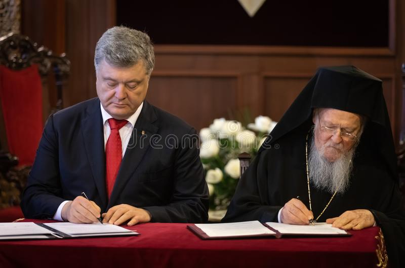 Istanbul, Turkey - Nov 03, 2018: Ecumenical Patriarchate and His All-Holiness Ecumenical Patriarch Bartholomew during a meeting. With President of Ukraine Petro stock photos