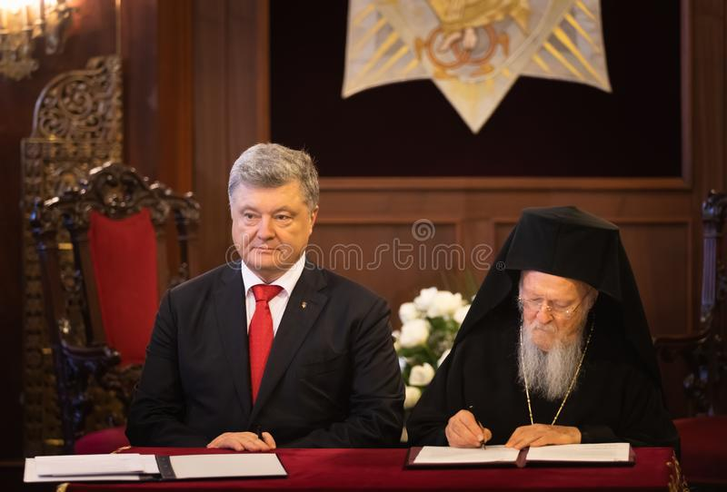 Istanbul, Turkey - Nov 03, 2018: Ecumenical Patriarchate and His All-Holiness Ecumenical Patriarch Bartholomew during a meeting. With President of Ukraine Petro stock image