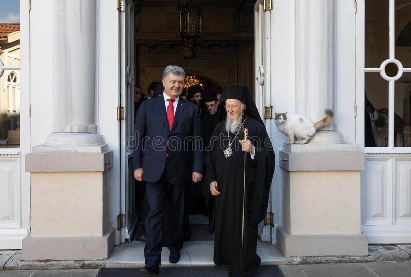 Istanbul, Turkey - Nov 03, 2018: Ecumenical Patriarchate and His All-Holiness Ecumenical Patriarch Bartholomew during a meeting. With President of Ukraine Petro royalty free stock image