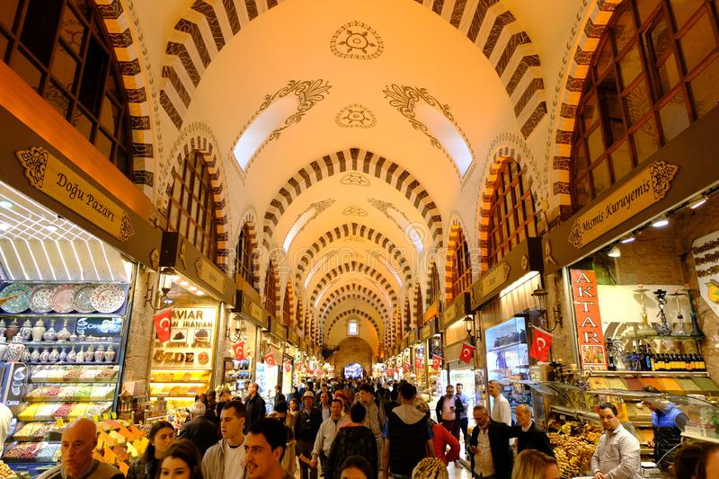 ISTANBUL, TURKEY - NOV 23, 2019: Grand Bazaar in Istanbul, Turkey. It is one of the largest and oldest covered markets in the worl. D royalty free stock photo
