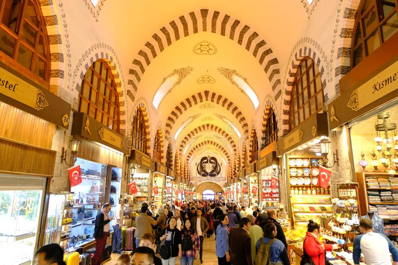 ISTANBUL, TURKEY - NOV 23, 2019: Grand Bazaar in Istanbul, Turkey. It is one of the largest and oldest covered markets in the worl. D royalty free stock image