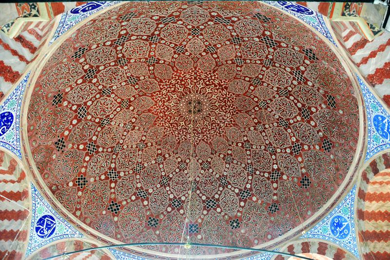 Ceiling of the tomb of Suleyman the Magnificent Kanuni Sultan Suleyman in Istanbul royalty free stock photography