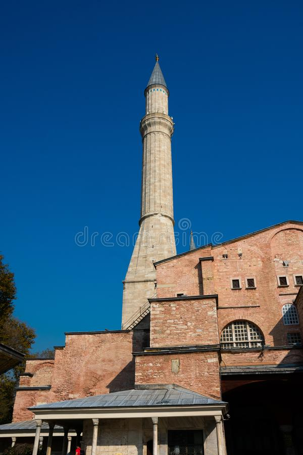 Minaret of Hagia Sophia Church of the Holy Wisdom - Ayasofya. Istanbul, Turkey. November 18, 2019. Minaret of Hagia Sophia Church of the Holy Wisdom - Ayasofya stock photos