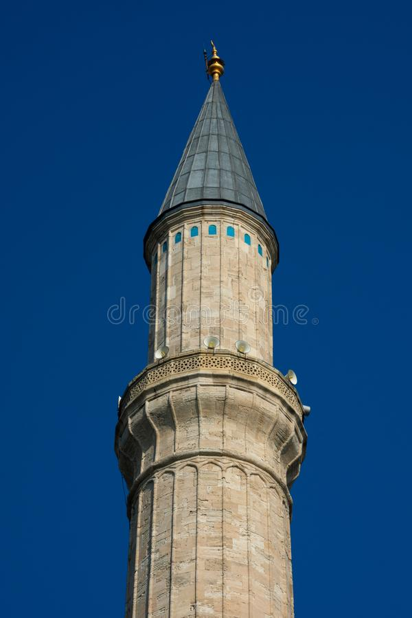 Minaret of Hagia Sophia Church of the Holy Wisdom - Ayasofya. Istanbul, Turkey. November 18, 2019. Minaret of Hagia Sophia Church of the Holy Wisdom - Ayasofya stock images