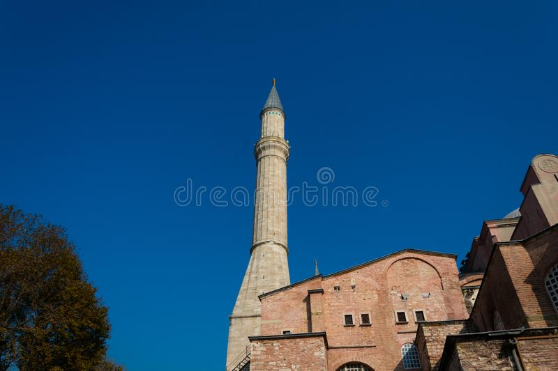Minaret of Hagia Sophia Church of the Holy Wisdom - Ayasofya. Istanbul, Turkey. November 18, 2019. Minaret of Hagia Sophia Church of the Holy Wisdom - Ayasofya royalty free stock photos